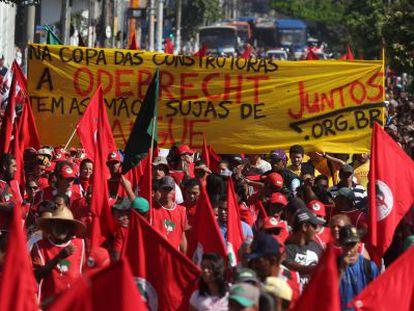 Manifestantes em São Paulo, nesta quinta-feira.