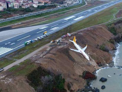 O Boeing 737-800 da companhia aérea Pegasus Airlines depois de sofrer o acidente no aeroporto de Trabzon, na Turquia.