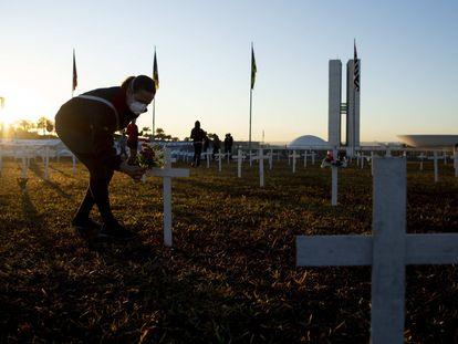 Ativistas colocam cruzes na Esplanada dos Ministérios em homenagem aos mortos pelo coronavírus no dia 29 de junho.