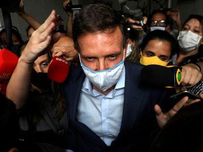 O prefeito do Rio de Janeiro, Marcelo Crivella, ao ser preso nesta terça-feira.