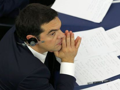 Alexis Tsipras no Parlamento Europeu, nesta quarta.