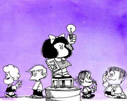 Mafalda é uma menina que não se cala nunca, mas o que a torna uma feminista é que acima de tudo acredita na equidade.