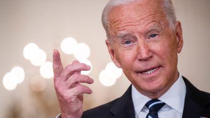 O presidente dos Estados Unidos, Joe Biden, numa fala sobre o programa de vacinação da Casa Branca.