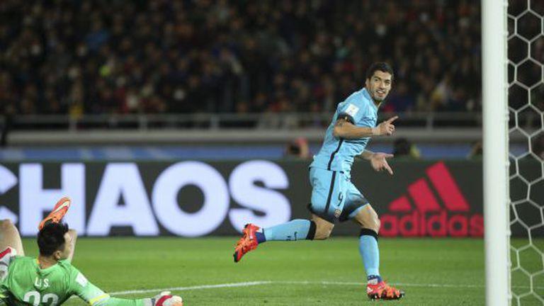Suárez comemora gol sobre o Guangzhou.