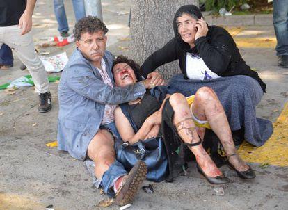 Feridos no atentado deste sábado, na Turquia.