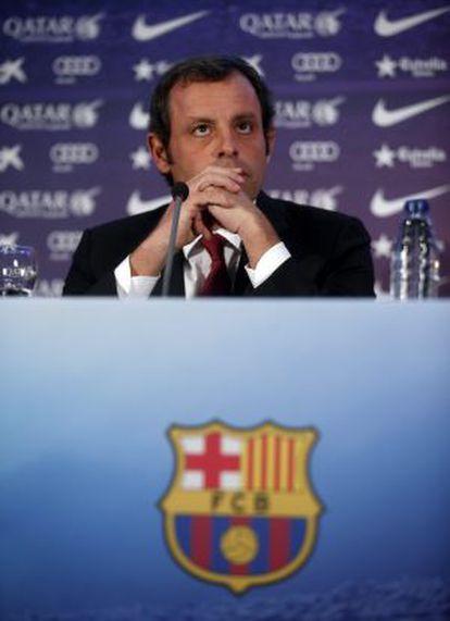 Sandro Rosell, em coletiva de imprensa.