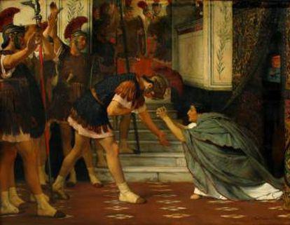 Cláudio implora ante os pretorianos para que decidam nomeá-lo imperador após o assassinato de Calígula, em uma pintura de Alma-Tadema de 1869