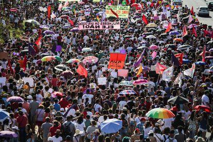 Manifestação do #EleNão em Brasília.