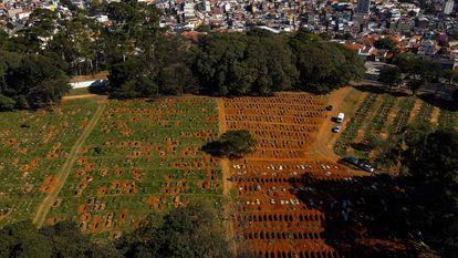 Imagem aérea do Cemitério Vila Formosa, em São Paulo.