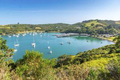 A ilha Waiheke, em Nova Zelândia.