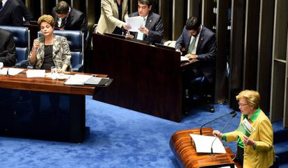 Senadora Ana Amélia questiona Dilma no Senado.