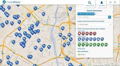 Os mapas da PredPol refletem o histórico de delitos e também as previsões futuras.