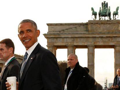 O presidente de EUA, Barack Obama, na quinta-feira em Berlim, em frente ao Portão de Brandeburgo.