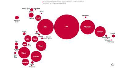 O mapa aponta a quantidade de vítimas mortais do jihadismo em 2016 por país.