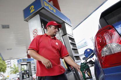 Um posto de gasolina da Pdvsa em Caracas.