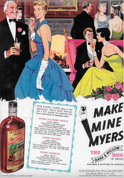 Anúncio da marca de rum Myers's publicado na revista britânica 'Country Life' em 1951.