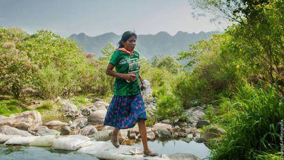 María Lorena Ramírez, de 22 anos, ao correr a UltraTrail Cerro Rojo, no México.
