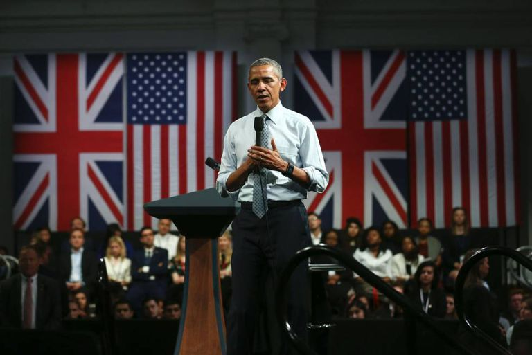 O presidente Obama profere um discurso em Londres.