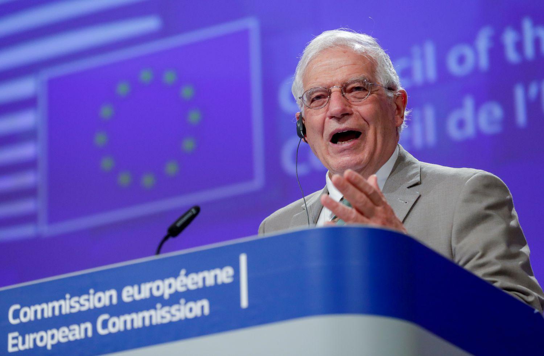 O chefe da diplomacia da UE, Josep Borrell, durante entrevista coletiva em Bruxelas no mês passado.