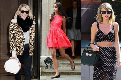 A influência das celebridades: Emma Roberts, com bolsa da marca; Malia Obama, com vestido de renda de Kate Spade, e Taylor Swift, com bolsa criada por ela.