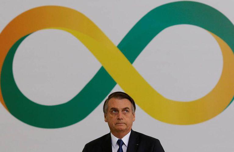 Bolsonaro, durante a cerimônia que marcou os 100 dias de seu governo.