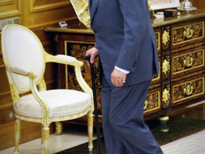 O Rei, em La Zarzuela, horas após anunciar sua abdicação.