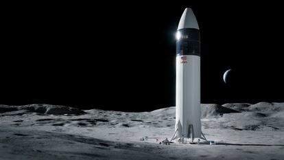 Recriação da nave SpaceX Starship para levar astronautas da NASA à Lua.