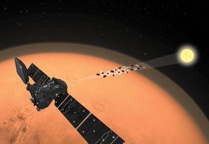Recriação da mudança de orientação do NOMAD que permitiu a detecção do traço de oxigênio na atmosfera de Marte.