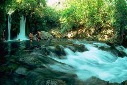 Cascata na reserva natural de Banyas, nas Colinas de Golã (Israel).