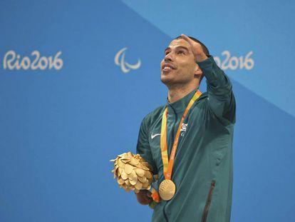 O nadador Daniel Dias, após o ouro nos 50m costas.