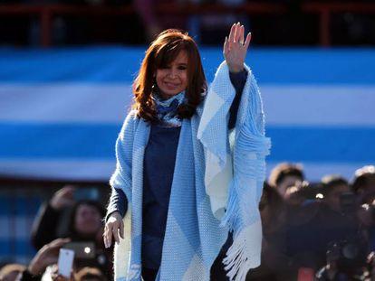 Cristina Fernández de Kirchner no lançamento de sua candidatura, no começo de agosto