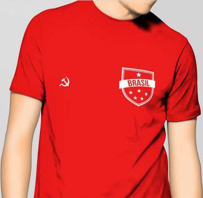 A camisa 'vermelhinha' do Brasil criada pela designer Luísa dos Anjos.