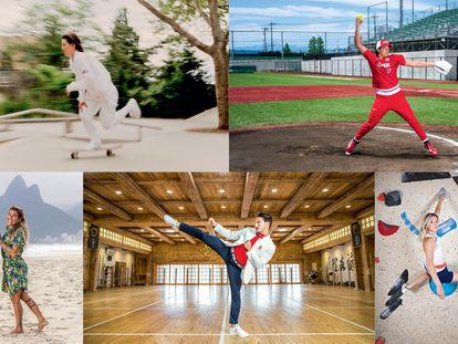Em sentido horário: a skatista norte-americana Alexis Sablone, a jogadora japonesa de softbol Yukiko Ueno, a escaladora francesa Julia Chanourdie, o carateca espanhol Damián Quintero e a surfista brasileira Silvana Lima.