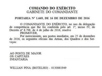 Trecho do Diário Oficial do dia 16.12.2016, com a promoção de Botelho.