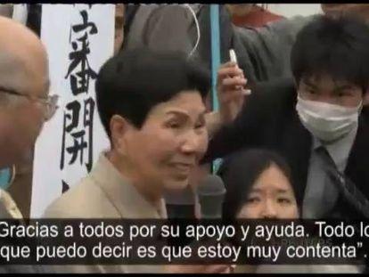 Hideko Hakamada, irmã de Iwao, agradece o apoio.
