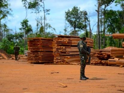 Soldado do Exército em frente a uma pilha de tábuas apreendidas na Operação Verde Brasil 2 em Roraima.