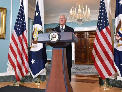 O secretário de Estado dos EUA, Rex Tillerson, discursa sobre a política em relação ao Irã.