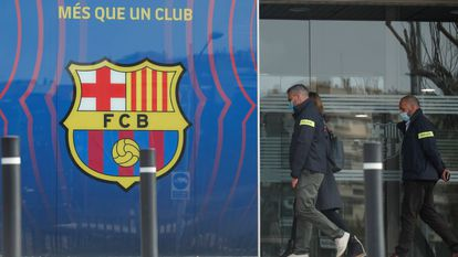 Agentes da polícia catalã entram na sede do FC Barcelona.