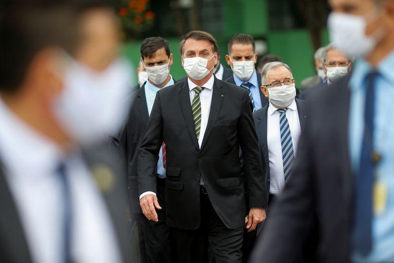 O presidente Jair Bolsonaro após reunião no STF, nesta quinta-feira.