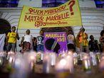 No dia 1o de novembro, manifestantes realizaram um protesto para cobrar investigações sobre quem mandou matar Marielle Franco.