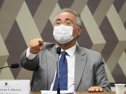 O senador Renan Calheiros (MDB-AL), durante a sessão da CPI da Covid.