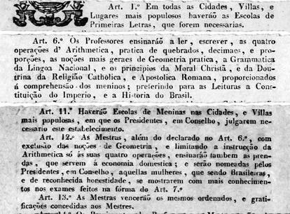 Trechos da lei de 1827: currículo escolar mais enxuto para as meninas.