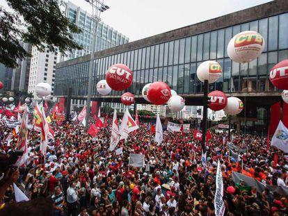 Ato na Paulista contra a proposta de reforma na Previdência em março.