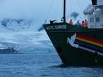 O navio Arctic Sunrise, do Greenpeace, que leva uma expedição à Antártida.
