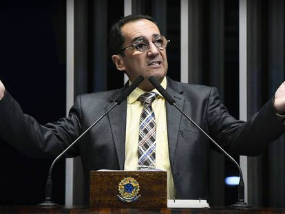 Senador Jorge Kajuru (Solidariedade-GO) discursa na tribuna do Senado Federal em julho de 2019.