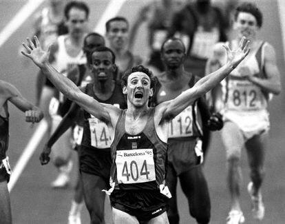 O atleta espanhol Fermín Cacho na Olimpíada de Barcelona-92.