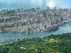 Vista aérea de un incendio en la Amazonía de Brasil.