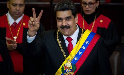 Maduro depois de prestar juramento como presidente da Venezuela pela segunda vez.