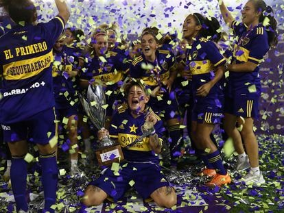 As jogadoras do Boca Juniors depois de vencer o campeonato, em janeiro.