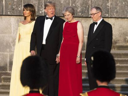 Melania e Donald Trump e Theresa e Philip May, nesta quinta-feira.